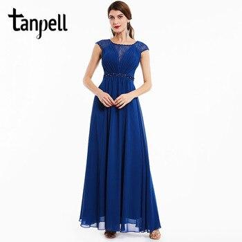 b0ed3db4c10 Tanpell бисером вечернее платье темно-Королевский синий цвет Cap рукава  Длина пола линии платья Новые женские кружева совок шеи длинное вечерне.