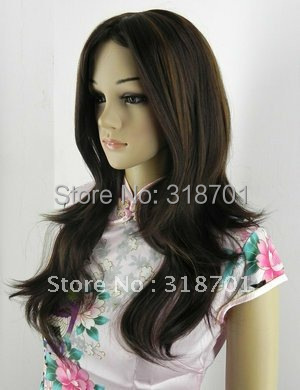 (Free Shipping) New Style Womens Girls Sexy Long wavy Fashion Full Wavy Hair .dark brown Wig