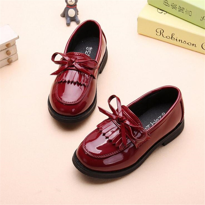 2018 New Spring wild fashion Children leather Shoes PU Leather Girls fringed single shoes child princess Student casual shoes
