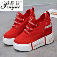 Fall Sneakers Platform 2018 Mesh Breathable Ladies Casual Shoes Comfortable Light Weight Autumn Sneakers Wedge High Heel