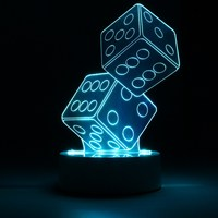Dual Dice Shaped LED Controller Button Switch 3D Night Light Atmosphere Desk Table Lamp Cafe Bar