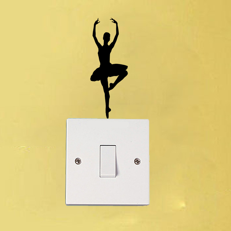 Ballet Dancer Fashion Wal Stickers Vinyl Light Switch Decal Home Decor 6SS0193