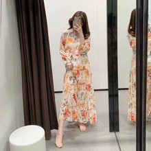 Summer Women Pleated Floral Print Dress Casual Holiday Puff Sleeve Holiday Dress Turn-Down Collar Button Maxi Dress stylish cap sleeve turn down collar floral dress for girls
