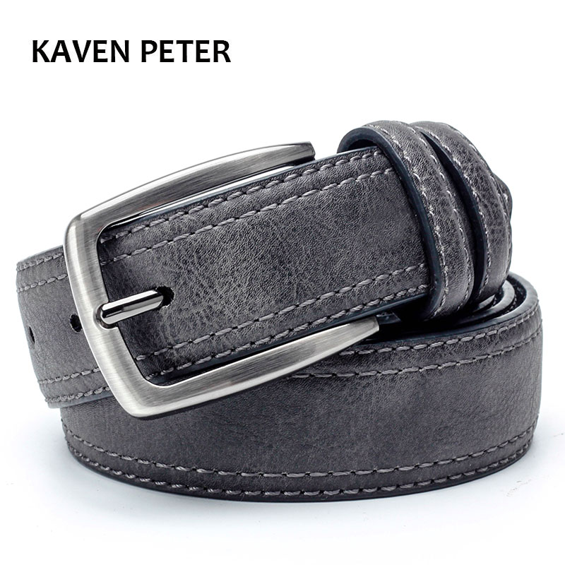 Mens Ringar Luxury Branded Leather Belt Men Berömda Bälten För Man Designer Bälten Med Vintage Style For Jeans 3.5 Cm Wide