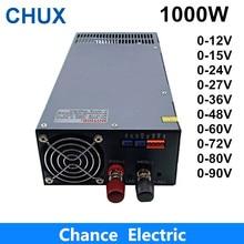 12 V 15 V 24 V 27 V 36 V 48 V 60 V 90 80 72 V V V comutação da fonte de Alimentação 1000 W 110 V 220 V AC para DC Power Supply
