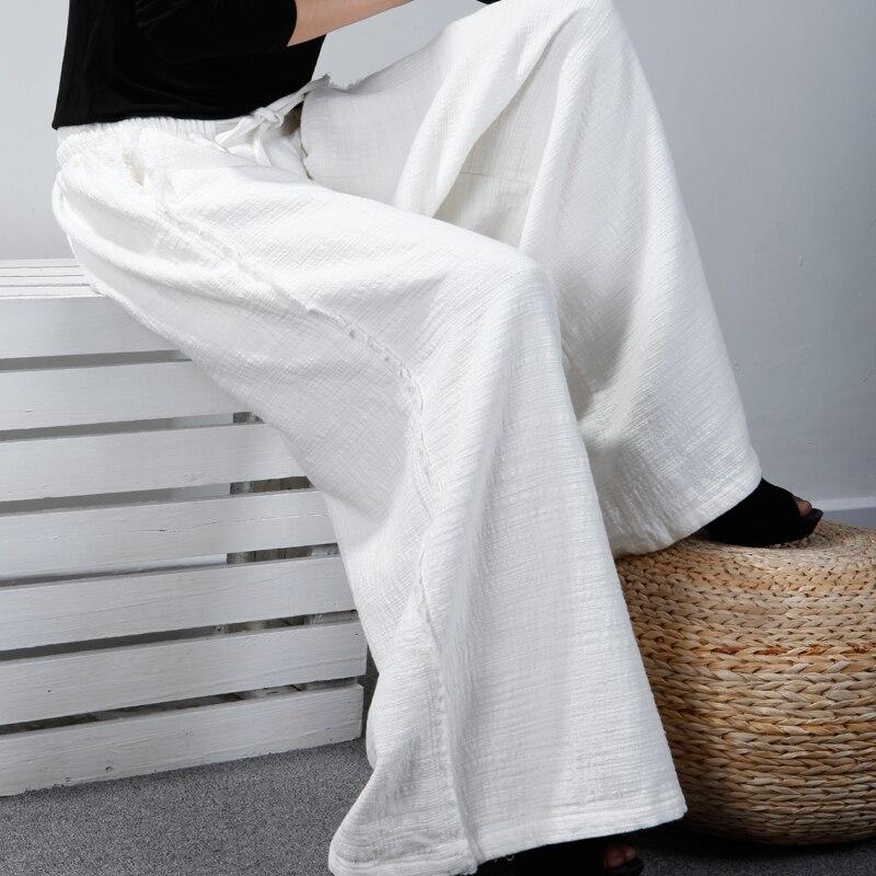 Et Art Large Coton De noir Hiver Lâche Automne Beige Nouvelle Pantalon bourgogne Occasionnel Jambe Lin Droit Femmes dqTvTwtH