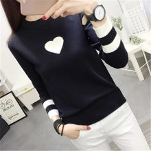 2018 New Winter Sweater Women Heart Print Pullover Knitted Jumper Elastic Sweet Contrast O-neck Long Sleeve Cashmere ZY2189(China)