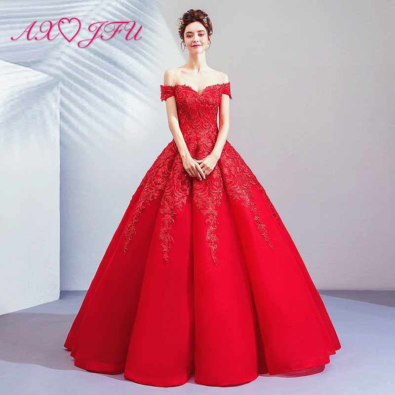 AXJFU princess Luxurious red Bride boat neck Wedding dress Toast banquet annual red beading lace Wedding
