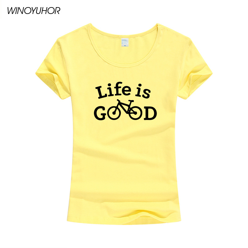 US $9 66 25% OFF|Life Is Good Funny Bicycle T shirts Women Summer Fashion  Printed Women's T Shirt Funny Short Sleeve Tops Brand Clothing-in T-Shirts