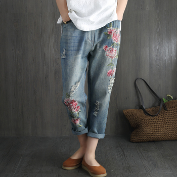 Flower Embroidery Jeans Women High Waist Casual Loose Harem Denim Capris Pants 2020 Fashion Vintage Summer Ripped Hole Jeans kobeinc streetwear hole ripped jeans for women flower embroidery ankle length pantalon mujer summer fashion female denim pants