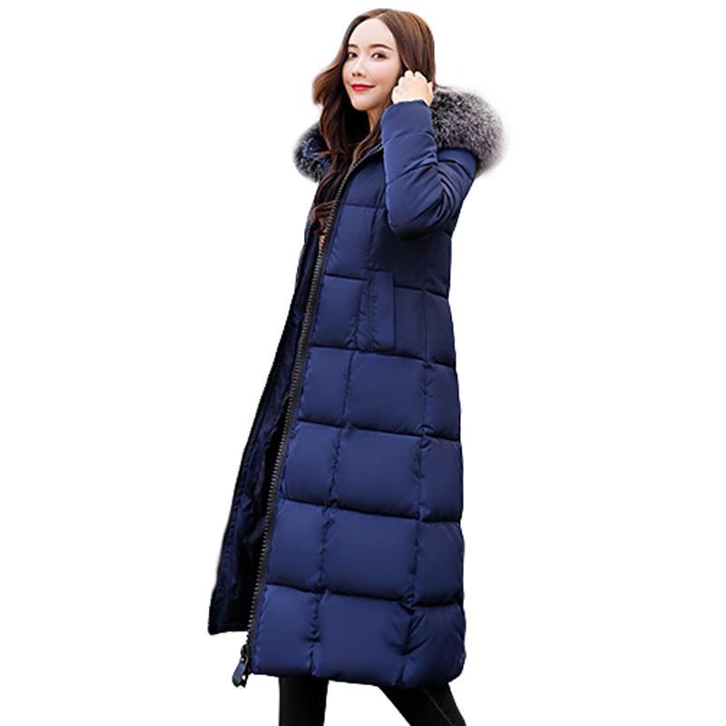 NEW winter women hooded coat fur collar thicken warm long jacket female 3XL outerwear   parka   ladies chaqueta feminino 2019