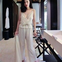 Летние белые шелковые женские пижамы с цветочной вышивкой, комплект из 3 предметов, шорты-слипы, сексуальное женское нижнее белье, женское н...