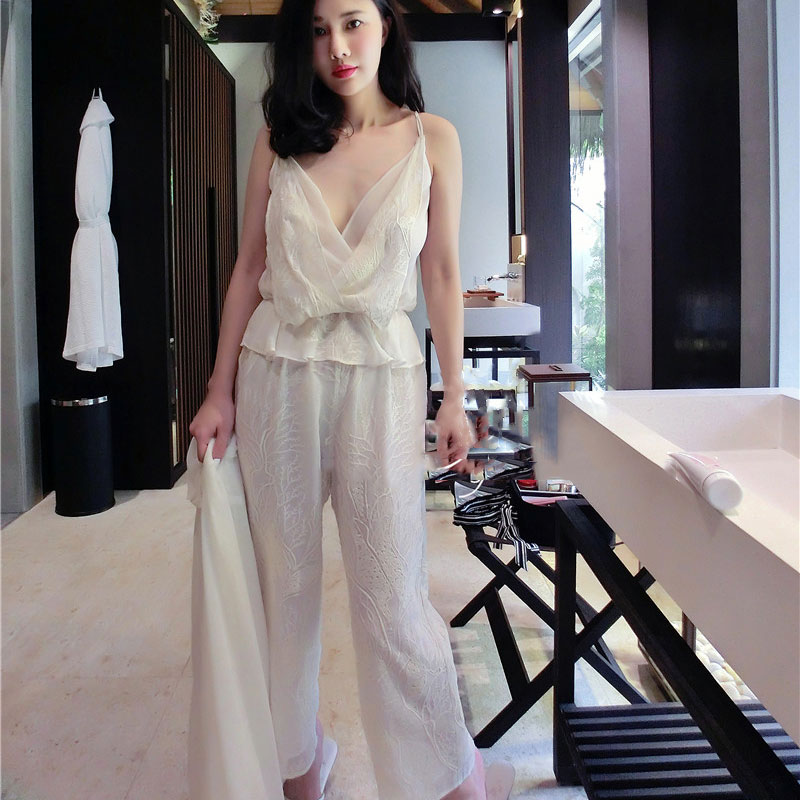Summer White Floral Embroidered Silk Women 3 Pieces   Pajamas     Sets   Slip Shorts Sexy Lingerie Female Underwear 5591