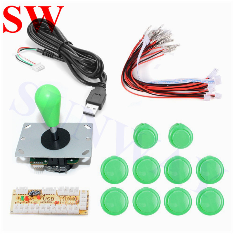 Arcade DIY Kits Zero Delay USB Encoder To PC Controller 5Pin Joystick + 10 Push Buttons Arcade Parts for Mame game machine#green