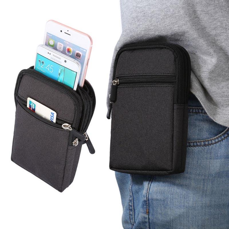 "Canvas Denim Phone Pouch Belt Clip Bag for Smart Phone 6.3"" Below Case with Pen Holder Waist Bag Outdoor Sport Phone Cover"