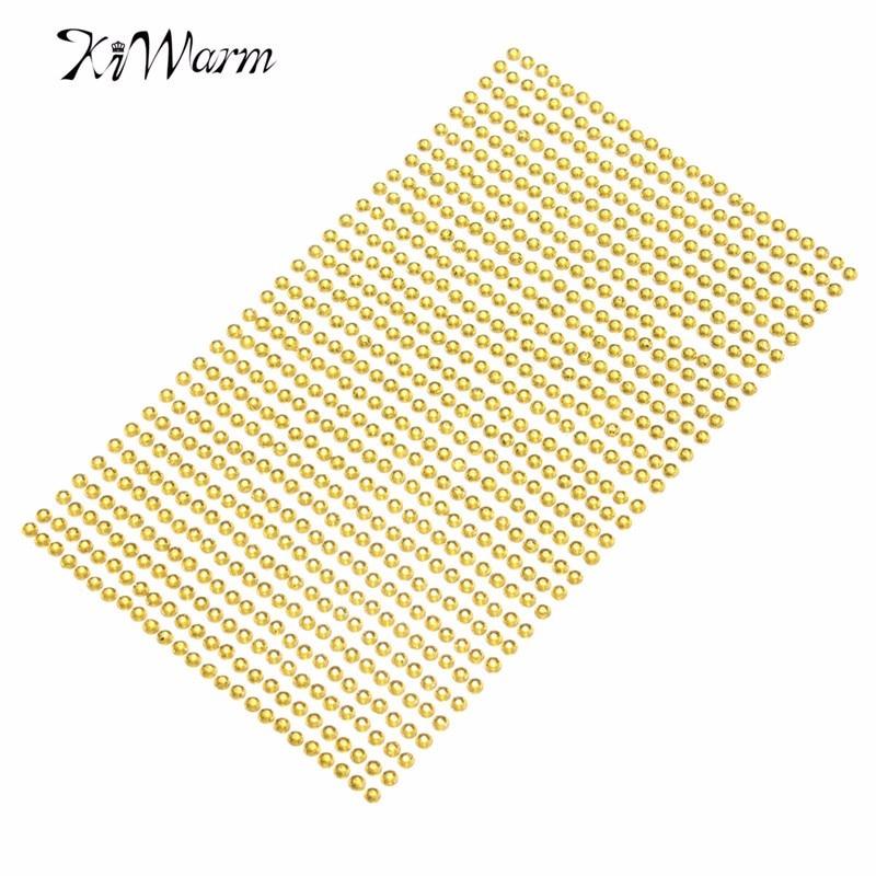 Rhinestone Stickers Stick On 3mm Gem Self Adhesive Diamante Strips 775 beads
