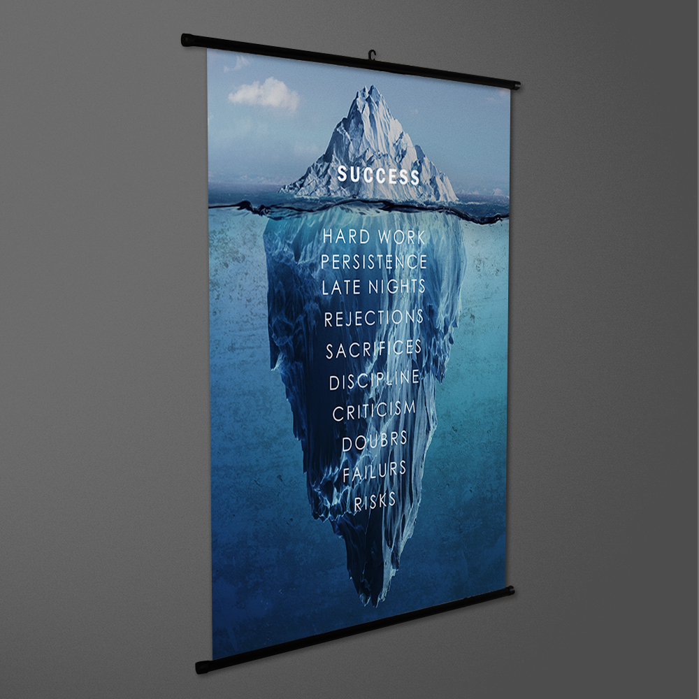 Iceberg Success Inspirational Quote Scroll Painting Art