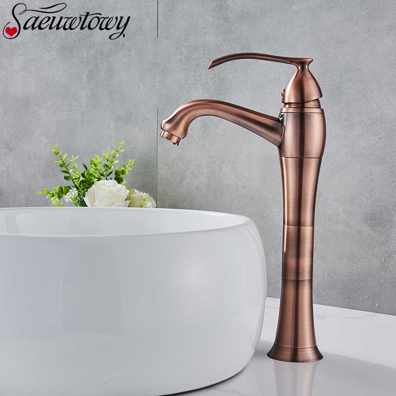 Único punho torneira do banheiro de bronze vermelho torneira da bacia quente & cold mixer sink tap deck monte para