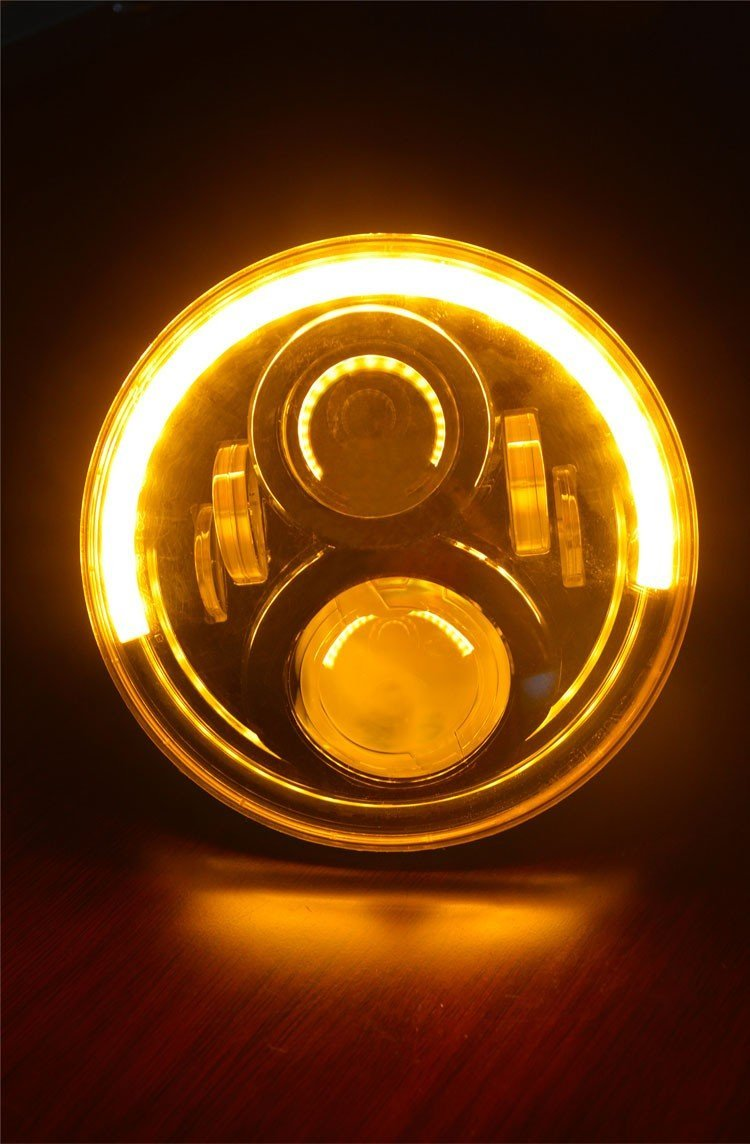 2PCS amber halo angel eye rings 7 inch hi lo beam H4 H13 50W LED headlight for jeep Wrangler 7 inch 30w led headlight hi low beam headlamp with red demon eye white angel eye green halo white halo for jeep hummer h1 h2