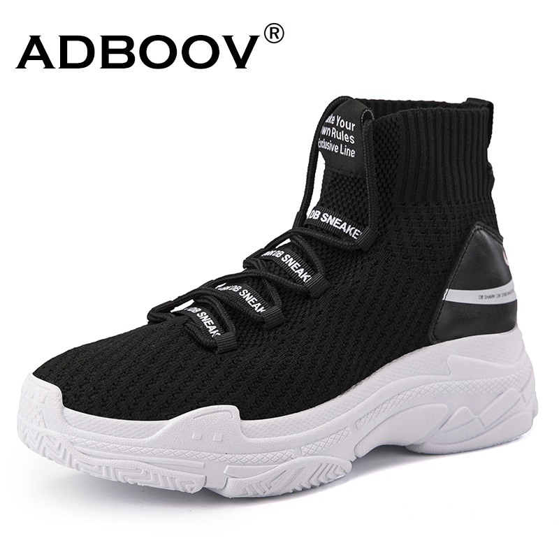 ADBOOV High Top Männer Frauen Turnschuhe 5 cm Dicke Sohle Socke Schuhe Stricken Vamp Atmungsaktiv Papa Schuhe Weiß Schwarz Sapato feminino
