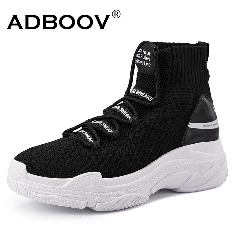 купить ADBOOV High Top Men Women Sneakers 5 CM Thick Sole Sock Shoes Knit Vamp Breathable Dad Shoes White Black Sapato Feminino по цене 1982.09 рублей