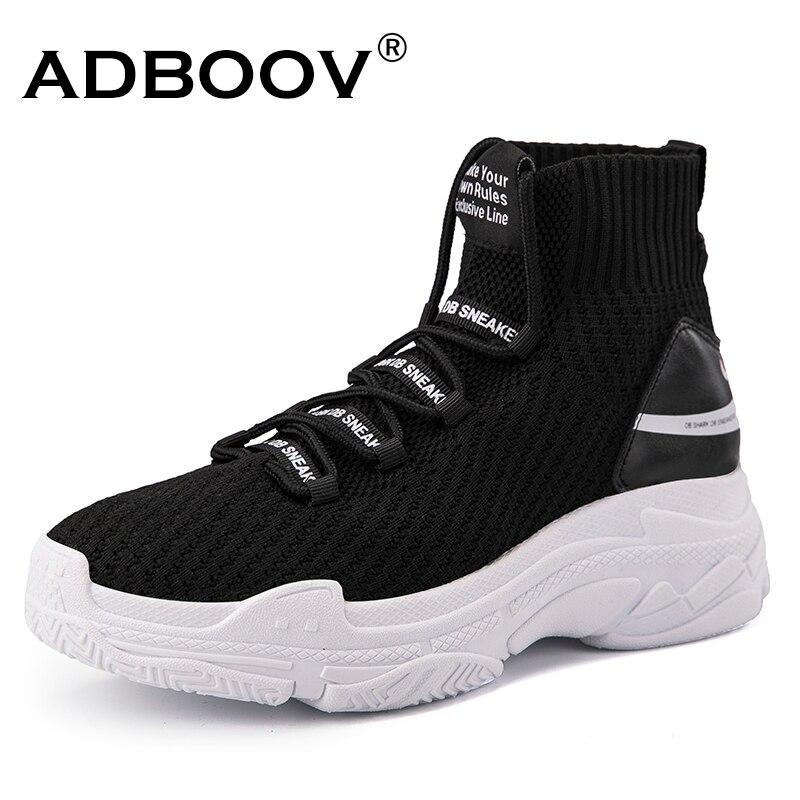ADBOOV High Top hombres mujeres zapatillas 5 cm suela gruesa zapatos calcetín punto empeine transpirable papá Zapatos blanco negro Sapato feminino