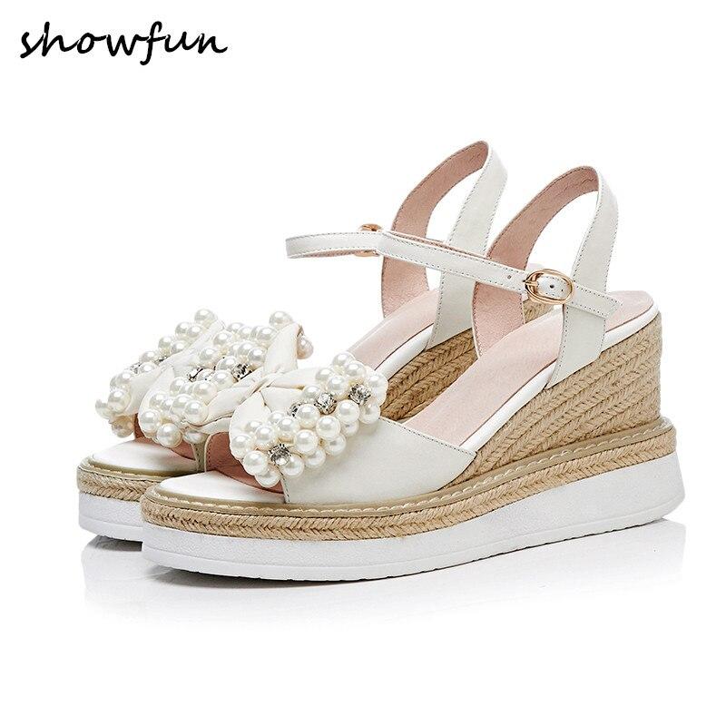 Vrouwen echt lederen kralen strikje wedge platform sandalen merk designer open teen zomer leisure hoge hak comfort schoenen-in Hoge Hakken van Schoenen op  Groep 1