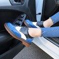 2016 da Queda do Outono Mulheres Sapatos Oxford Do Vintage Dedo Do Pé Redondo Mulheres Flats Ankle Boots Inglaterra Estilo Derby Senhoras Sapatos Chaussure Femmer
