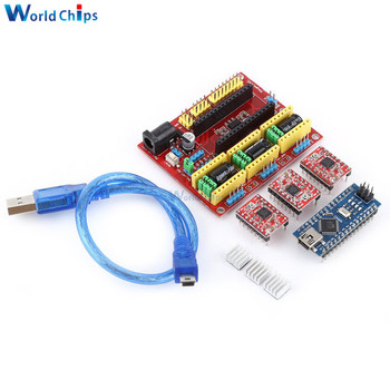 CNC Shield V4 Expansion Board Nano V3.0 Module 3 * A4988 Reprap Stepper Drivers Kit with Micro USB Cable for Arduino 3D Printer