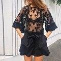 Сексуальная прозрачный Женщины Блузки Flare Рукавом Прозрачные Летние Топы Клубная Одежда Camisas Femininas 2016 Плюс Размер Женщин Рубашки Blusa