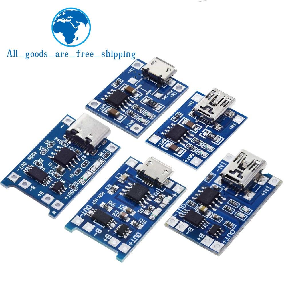 Зарядная плата TP4056 18650, 1 шт., 5 В, 1 А, Micro USB 18650, type-c, литиевая батарея, модуль зарядного устройства + Двойная функция защиты TP4056