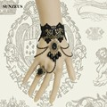 Clássico de renda preta luvas de noiva new moda pulseira com pérolas luvas de casamento evening partido acessórios gótico palácio bv-020