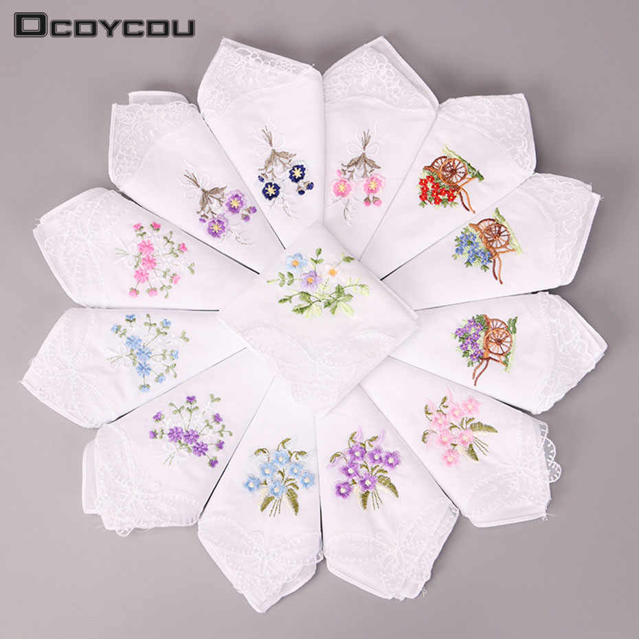 5PCS Vintage Cotton Handkerchief Girl Napkin Embroidered Women Napkin Embroidered Butterfly Lace Flower Handkerchief