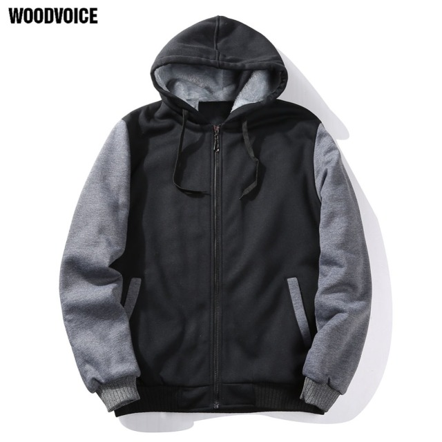 Woodvoice Brand Clothing 2019 New Zipper Hoodies Men Autumn Winter US/Euro Size Hip Hop Sweatshirt Fashion Outwear Free Shipping