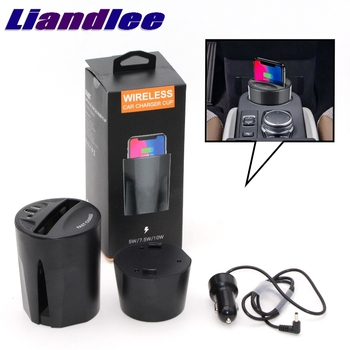 LiandLee Qi Car Wireless Phone Charging Cup Holder Style Fast Charger For Mitsubishi Grand Lancer Evolution Evo Legnum VRG VRM