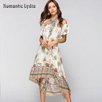 New Arrival 2018 Boho Chic Sundress Floral Wrap Summer Dress Women Bohemian Beach Tunic Loose Off