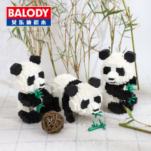 Balody 18087 3-in-1 Cartoon Panda Animal Bamboo 3D Model DIY Diamond Micro Mini Building Nano Blocks Bricks Assembly Toy no Box(China)