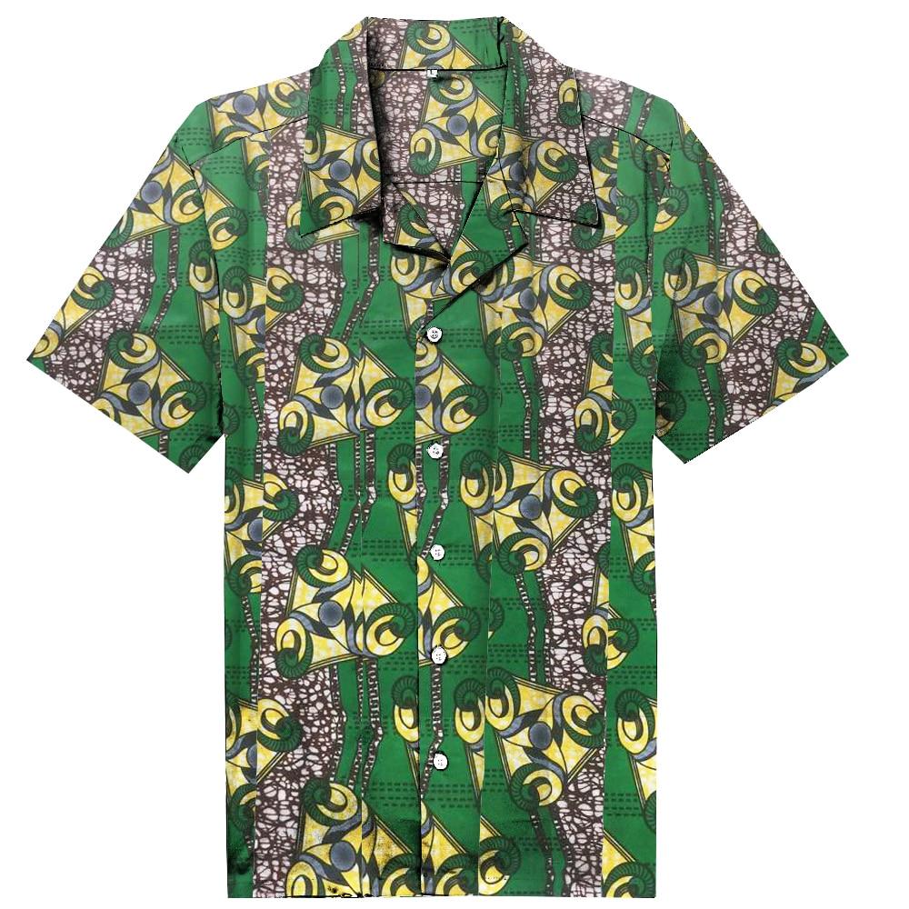 Новый Дашики Для мужчин платье в африканском стиле модная одежда Цветочный принт пляжные топы с короткими рукавами человек рубашка Африка Стиль Дизайн праздничный костюм