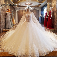 LS63907 Romantic Beads Sleeveless Wedding Dress High End Luxury Long Train Princess Bridal Gowns 2017 Vestido