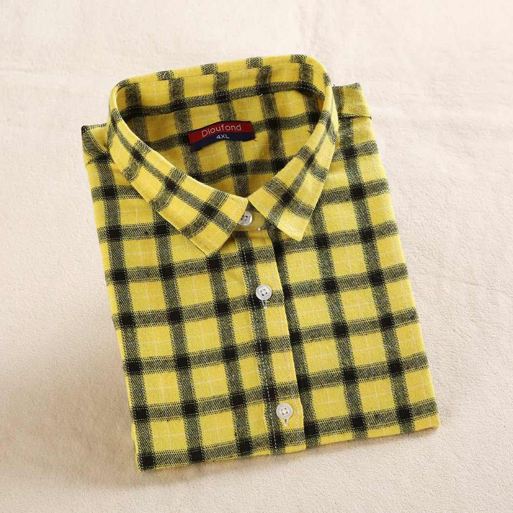 Dioufond Женская клетчатая рубашка красные хлопковые топы с длинными рукавами Blusas красная женская рубашка в клетку одежда плюс размер 5XL блузка и топ