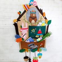 Felt Animals Craft Kit Storage Bag For Kids Handmade Sewing Felt DIY Package Wall Hanging Bag Children Bedroom&House Decoration все цены