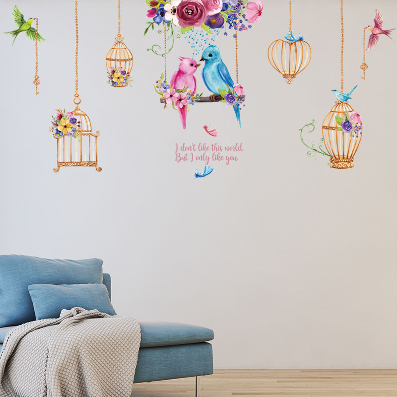couple birds birdcages love arts wall stickers vinyl women bedroom