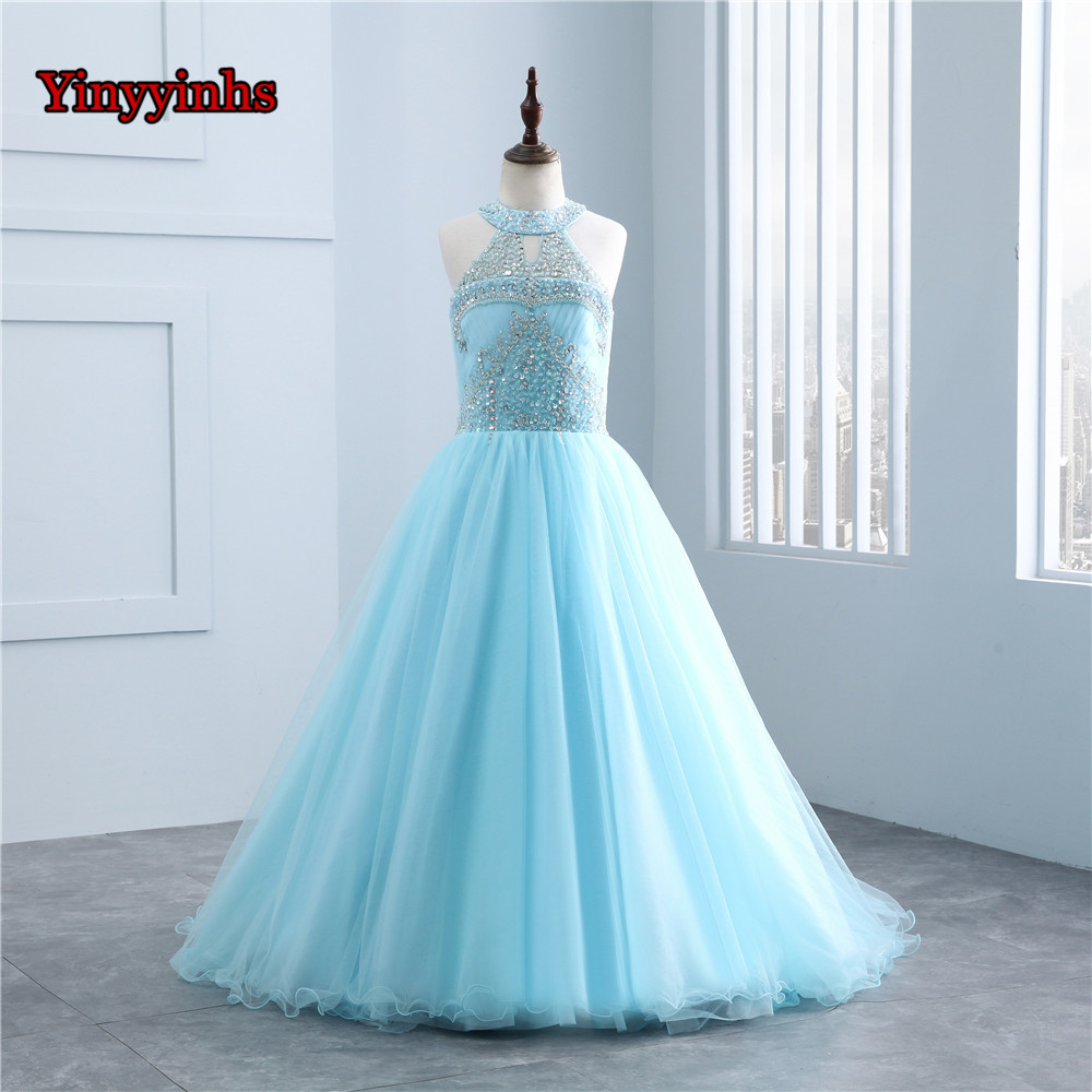 Yinyyinhs Romantic Puffy Halter   Flower     Girl     Dress   for Weddings Tulle Ball Gown Beading   Girl   Party Communion   Dress   Pageant Gown