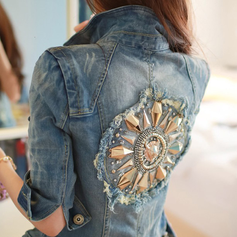 New fashion Star jeans women Punk spike studded shrug shoulder Denim cropped VINTAGE jacket coat Denim Coat vintage half sleeve