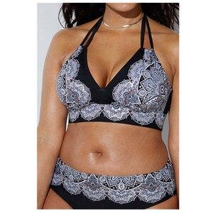 2020 Swimwear High Waisted Two Piece Plus Size Large Size Plus Fat Printed Swimsuit Women Back Chalaza Bikini Beach Bathing Suit(China)