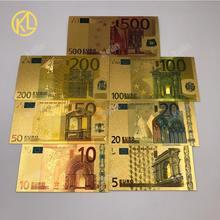7 sztuk/partia 2 wybierz 24 K złota folia z tworzywa sztucznego banknotów pamiątka prezent pieniądze 5 10 20 50 100 200 500 na boże narodzenie cenne prezenty