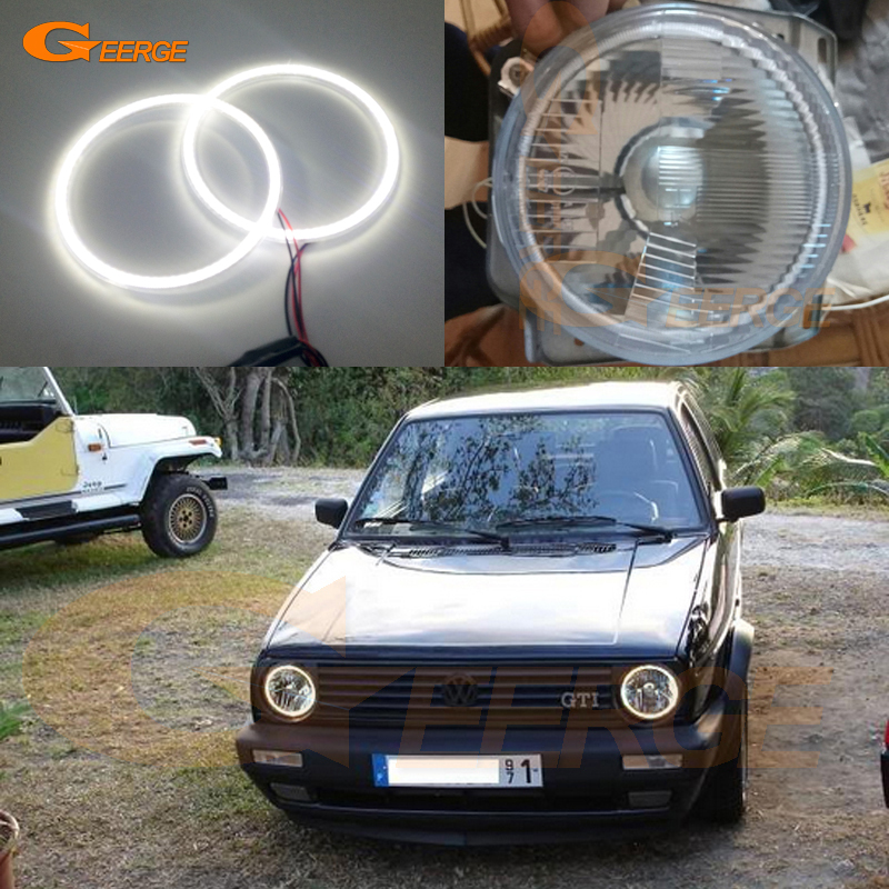For Volkswagen VW Golf Mk1 Mk2 GTI Euro headlight Excellent Angel Eyes Ultra bright illumination smd led Angel Eyes kit 2pcs purple blue red green led demon eyes for bixenon projector lens hella5 q5 2 5inch and 3 0inch headlight angel devil demon