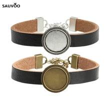 Купить с кэшбэком Antique Bronze/Silver Plated Charm Black Leather Bracelets Bangle Cuff 18mm Glass Cameo Dome Cabochon Blank Tray Findings F5341