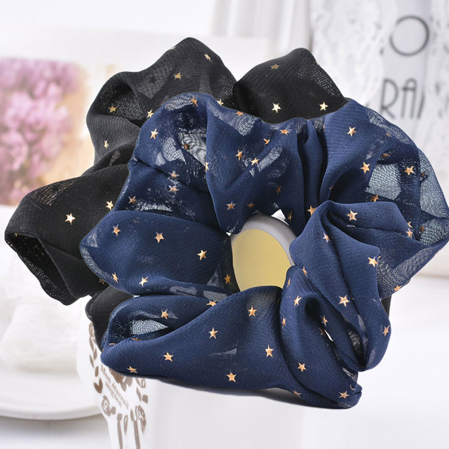 2018 New Star Printed women's Hair Scrunchies No Crease Hair Tie Hair Accessories Ponytail Holder Hair Rope