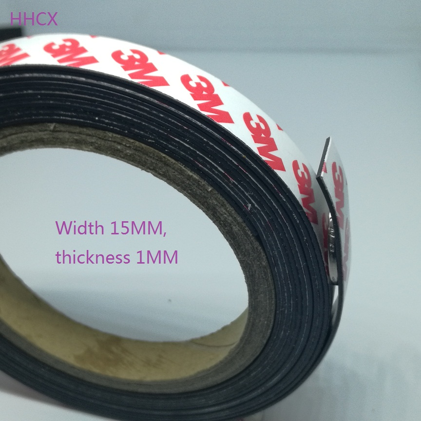 1 Meter Rubber Magnet 15*1 Mm 3M Self Adhesive Flexible Magnetic Strip Rubber Magnet Tape Width 15mm Thickness 1mm 15mm X 1mm